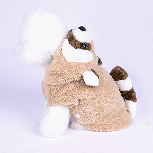 (QNMM Waschbär Haustier Kleidung Puppy Hoodie Pullover Hundemantel Warm Sweatshirt Unisex Haustier Wintermantel Kleid Kleidung,L)