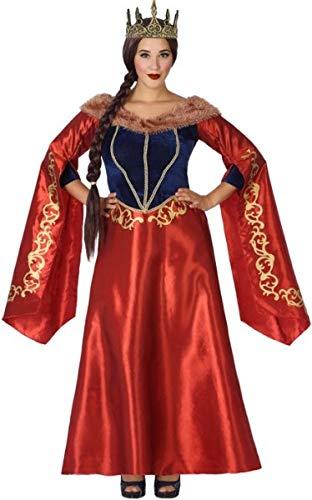 Fancy Me Damen Langes rotes Mittelalter Königin Kleid Karneval Halloween Kostüm Outfit 8-22 - Rote Königin Übergröße Kostüm