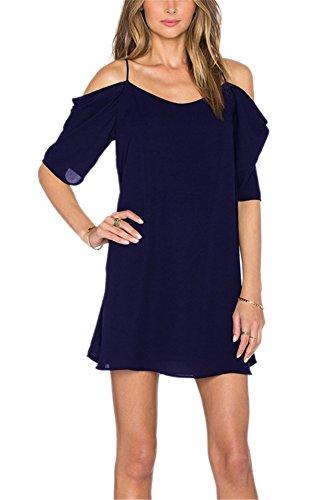 c6338ed37be Damen Kalte Schulter Kleid Strandkleider kurz Chiffonkleid knielang  festlich A-Linie Sommerkleider (XL