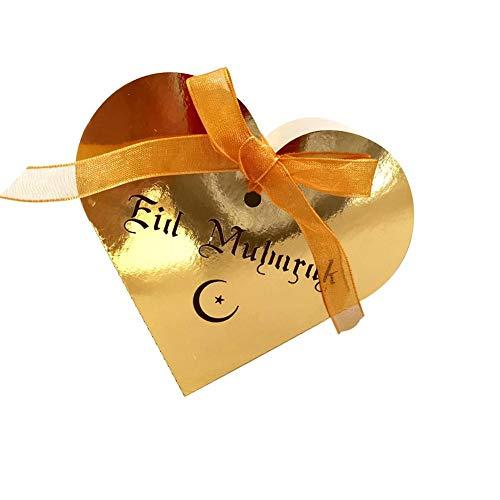 50PCS Eid Mubarak Goldene Süßigkeit Schokolade Box Ramadan Kareem Sugar Hollow-Speicher-Fall mit Party-Band Supplies - Band-speicher-fall