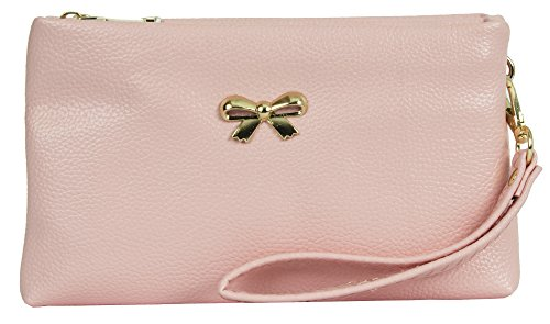 Big Handbag Shop , Damen Handgelenkstasche rosa Style 1 - Baby Pink (Rosa Soft-handtasche)