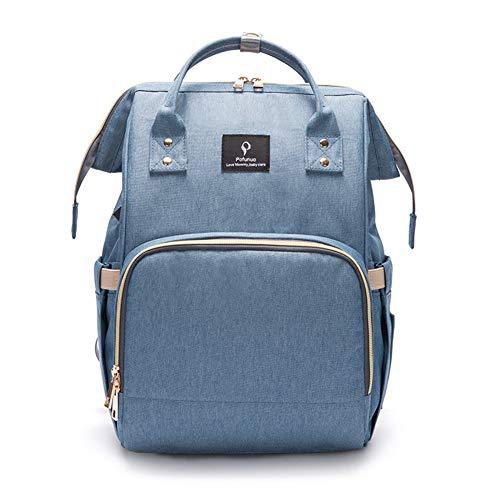 Wickelrucksack, Baby-Wickeltasche, Rucksack mit USB-Anschluss, isolierte Taschen, wasserdicht, Polyester, multifunktional, für Babypflege, große Kapazität, für Mama und Papa Gr. 42, hellblau