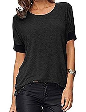 ELFIN® Frauen Damen T-Shirt Rundhals Kurzarm Ladies Sommer Casual Oberteil Locker Bluse Tops - weiches Material...
