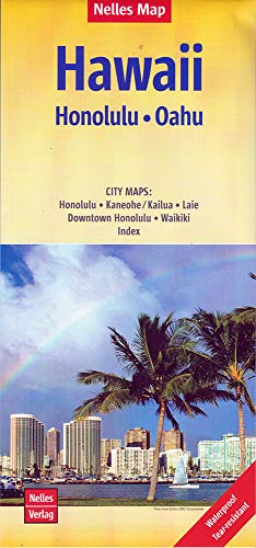 Nelles Map Landkarte Hawaii : Honolulu, Oahu: 1:150.000 | reiß- und wasserfest; waterproof and tear-resistant; indéchirable et imperméable; irrompible & impermeable - Oahu Hawaii