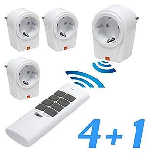 solidBASIC - Funk Schalter Steckdosen Set : 4 x Funksteckdosen + 1 x Fernbedienung | 4-Kanal Plug & Play Funkschalt-Set - WEIß