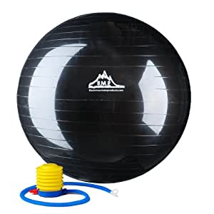 Black Mountain Products Ballon pour Exercices d'équilibre de Force statiques avec Pompe - Noir, 907,18kg