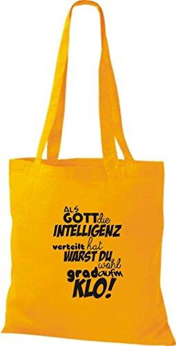 ShirtInStyle Stoffbeutel Baumwolltasche Als Gott die Intelligenz verteilt... KLO! Farbe Pink goldgelb