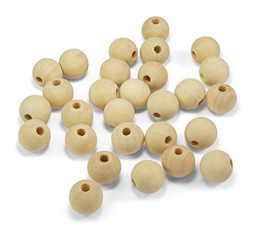 ❤️HobbyHerz 60x 16mm Holzperlen Holzkugeln Natur Perlen aus Holz mit Loch zum Auffädeln + Basteln | Schmuck selber Machen