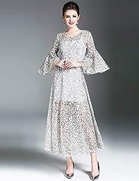 9abaa597d YFLTZ Vestido de Noche Elegante de la Calle de Las Mujeres de la Vendimia  un Vestido del oscilación de la línea - Color sólido