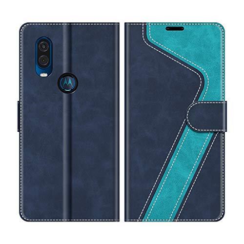 MOBESV Handyhülle für Motorola One Vision Hülle Leder, Motorola One Vision Klapphülle Handytasche Case für Motorola One Vision Handy Hüllen, Modisch Blau