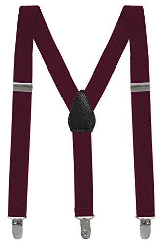 Buyless Fashion Kinder und Baby 2,5 cm Elastische verstellbare Y Hosenträger - Mit starken Clips - 5102 Farbe: Burgundy | Größe: 66 cm (3-9 Jahre)