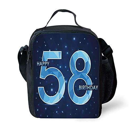 ZKHTO School Supplies 58th Birthday,Number on Open Night Sky with Stars Age Happy and Long Life Print Decorative,Dark and Sky Blue for Girls or Boys Washable