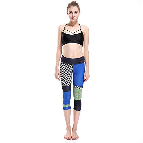 GYXYYF Frauen Yoga Hosen Farbe Plaid Print Atmungsaktiv Und Schnell Trocknend Cropped Yoga Pants L Plaid Cropped Pants