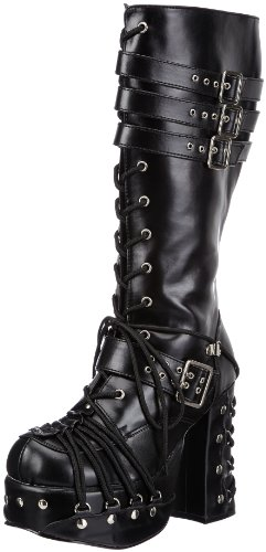 Gothic High Heels (Demonia CHARADE-206 Damen Stiefel, Schwarz (Blk Vegan Leather), EU 38 (UK 5) (US 8))