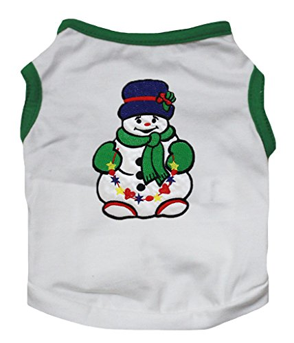 Für Hund Schneemann Kostüm (Petitebelle Pet Supply Xmas Snowman Green White T-Shirt Novelty Dog Dress)