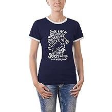 Touchlines Kontrast T-Shirt Soft Warm Kitty Girlie Ringer, Camiseta para Mujer