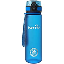 ion8 Leak Proof BPA Free, Botella de agua, sin BPS, a pueba de fugas, Azul (Frosted Blue), 500 ml