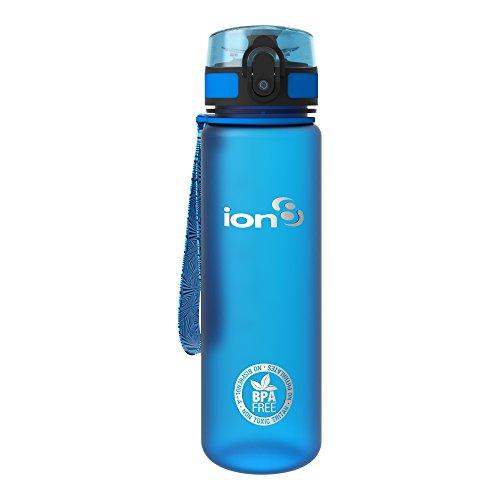 ion8 auslaufsichere Schlanke Wasserflasche/Trinkflasche, BPA-Frei, 500ml/18oz, Blau (Frosted Blue)