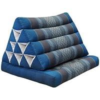 Kapok Thaikissen, Yogakissen, Massagekissen, Kopfkissen, Tantrakissen, Sitzkissen - blau/grau Muster (Dreieck mit 1 Auflage 52x35x45 (82601))