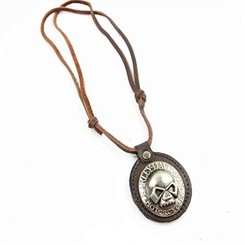 Aszhdfihas Halskette Retro-Legierungs-Hut gesponnenes Rindsleder-Auto-Charme-Innenspiegel Dekoration hängende hängende Art- und Weisehalskette für Frauen und Mädchen