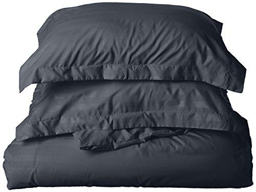 idig weich 1500Fadenzahl faltenfrei 3-teiliges Bettbezug Set, baumwolle, schwarz, Full/Queen Duvet Set (Bettbezug Queen Baumwolle Schwarz)