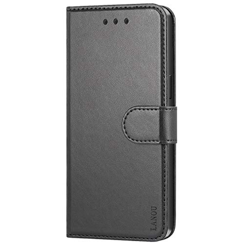 LANOU Galaxy Grand Prime Hülle, Premium Leder Tasche Handy Schutzhülle für Samsung Galaxy Grand Prime Handyhülle Etui Schale Case Cover - Schwarz