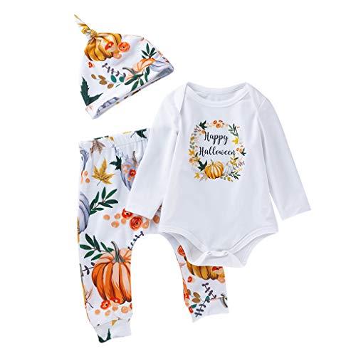Pingtr Baby Halloween Kostüm,Kleinkind Baby Kind Mädchen Jungen Halloween Print Strampler Hosen Hosen Hut Set Outfits (Kleinkind Kuh Kostüm Halloween)