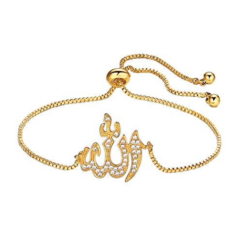 Suplight Damen Armband Muslim Gott Allah Charm Armkette 18K vergoldet Zirkonia Armschmuck Fantasie Schmuck Weihnachtsgeschenk für Mädchen, gold, 27cm lang verstellbar