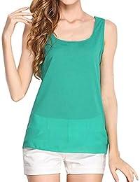 OHQ Blusa Mujer Elegante Camisetas Chaleco Sin Mangas para Mujer Camisa De Gasa Color SóLido Camisa