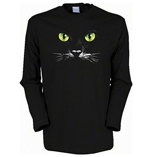 Langarm-Shirt mit Katzen Motiv geil bedruckt / Schwarze Katze ! Schwarz