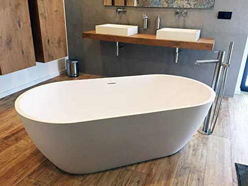 Freistehende Badewanne Mineralguss - oval weiß - inkl. Ablaufventil & Siphon - 160x80 - M