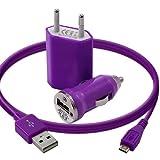 Seluxion - Mini Chargeur 3en1 Auto Et Secteur Usb Avec Câble Data Violet pour Blackberry : Curve 8520 / Curve 9360 / Curve 9380 / Torch 9800 / Torch 9860