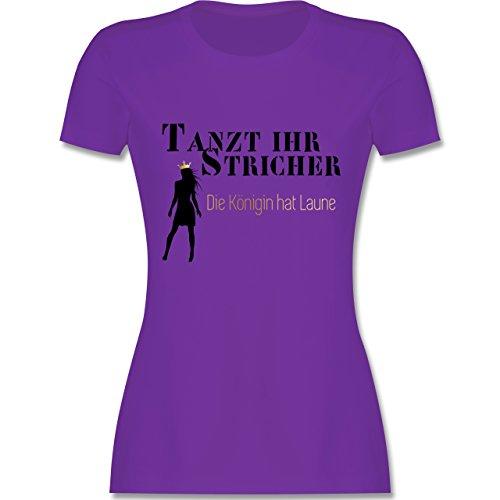 JGA Junggesellinnenabschied - Tanzt ihr Stricher, die Königin hat Laune - tailliertes Premium T-Shirt mit Rundhalsausschnitt für Damen Lila