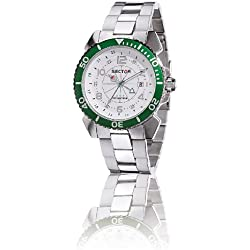 Sector Centurion Watch GMT with White Dial, Green Bezel and Stainless Steel Strap