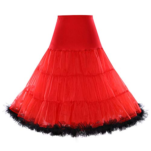 """Boolavard® TM 50er Jahre 26"""" Petticoat Reifrock Unter Rock Unterrock Unterrock Reifrock Röcke Vintage Swing APPLELOVE (L-XL (EU 42-50), Rot mit Schwarzer Verzierung)"""