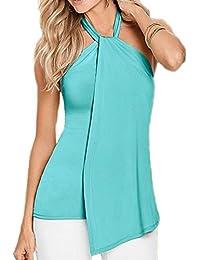 Zilcremo Las Mujeres Casual Camiseta Verano Halter Top Tee Sólidos Irregulares