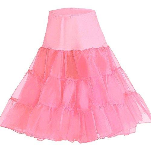 50ER JAHRE PETTICOAT Schwarz Rot Weiß Pink Lila Unterrock Rock Rockabilly Fifties 50' Tutu, Pink, Schwarz - L/XL Schwarz