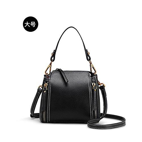 Leder Messenger black Umhängetasche Doppelter erste Reißverschluss weibliche Litschi aus Der retro echtem Handtasche Paket pBnXCTwxqf