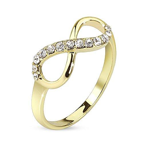 Bungsa 49 (15.6) Infinity Ring Gold Unendlichkeits Symbol Schmal Größen 49 52 54 57 60 (Ring Damen Fingerring Partnerringe Verlobungsringe Trauringe Damenring Brass)
