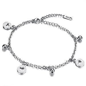 iLove EU Edelstahl Armband Fußkette Fußkettchen Fußschmuck Silber Herz Münzen Glöckchen Charm Charmee Damen