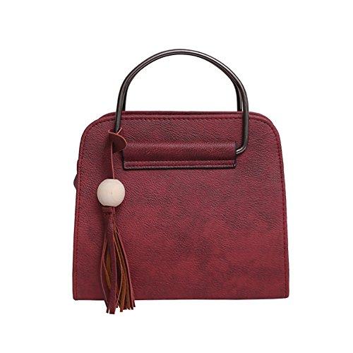 Meoaeo Single Schulter Schräg Cross Bag Handtasche Neue Mode Reissverschluss Pu Single Schulter Schwarz Claret