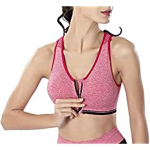 Quge Mujer Sujetador Deportivo Gimnasio Tops Correr Sin Costuras Yoga Comodidad Frontal Cremallera