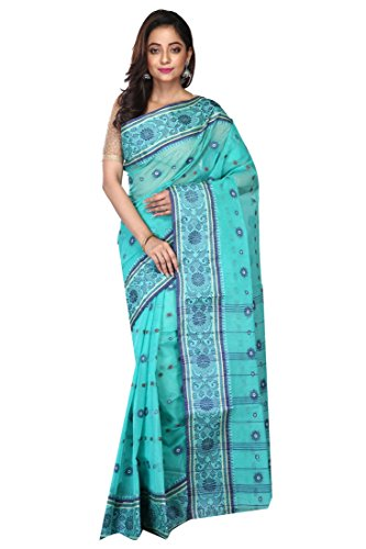 Badal Textile Handloom Cotton Tant Saree, Traditional Bengali Wear (Sky Blue)
