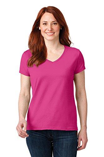 Anvil Damen-T-Shirt, 100% gekämmt, ringgesponnene Baumwolle, V-Ausschnitt, Schwarz, 36 Stück, Damen, hot pink, X-Large -