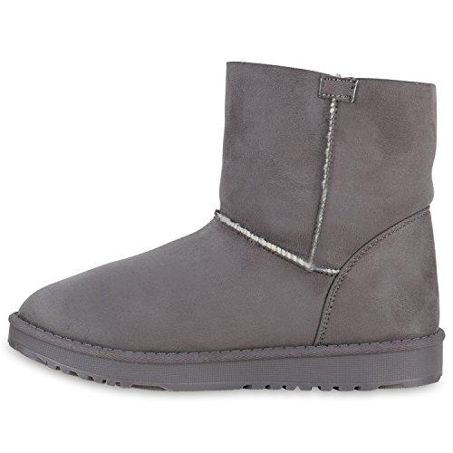 Damen Schuhe Schlupfstiefel Boots Warm gefüttert Grau Bommel