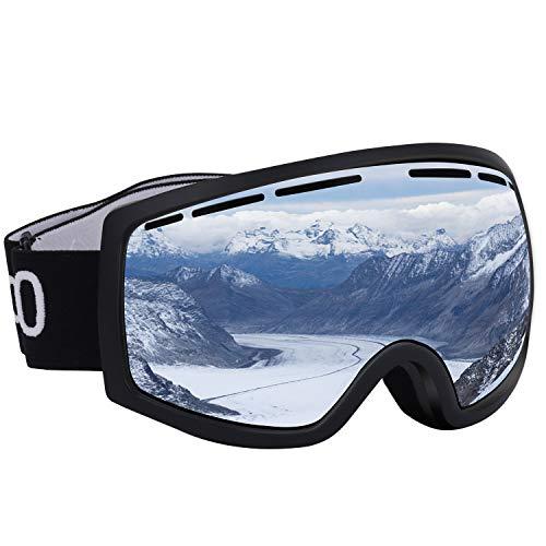 Occffy Skibrille Snowboardbrille für Damen und Herren 100% OTG UV-Schutz mit Rahmen Anti-Nebel Schneebrille Helmkompatible HX001 (HX001 Schwarzer Matter Rahmen mit Silberner Linse(VLT11%))