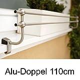Blumenkasten Doppel-Halterung 110 cm, für Alu-Fensterbänke, Montage ohne Bohren
