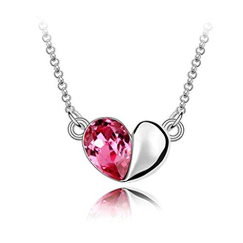 Daesar Schmuck Damenkette Vergoldet Herz Zirkonia Synthetische Kristall Halskette Zirkonia Halskette Anhänger