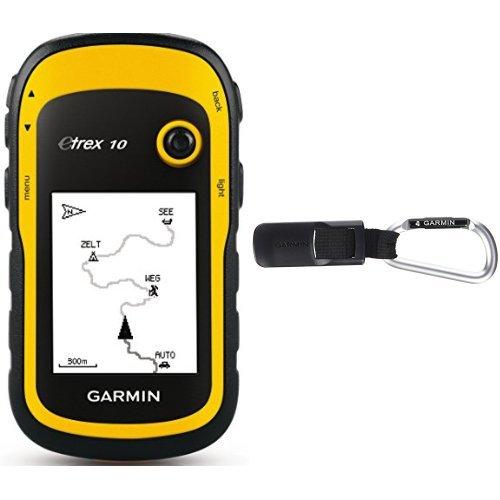 """Garmin eTrex 10 GPS Handgerät - 2,2"""" Touchdisplay, Batterielaufzeit bis 25 Std., großer interner Speicher + Karabiner-Halterung"""