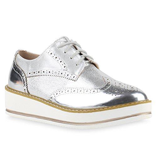 Damen Schuhe 140188 Halbschuhe Silber Lack 39 Flandell
